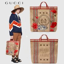 GUCCI Stripes Unisex A4 Totes