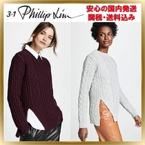 3.1 Phillip Lim Crew Neck Short Wool Rib Long Sleeves Plain Elegant Style