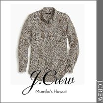 J Crew Leopard Patterns Casual Style Silk Long Sleeves