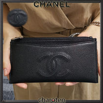CHANEL TIMELESS CLASSICS Calfskin Plain Pouches & Cosmetic Bags
