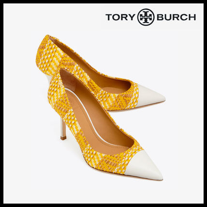 1d93f4378d230 ... Tory Burch Pointed Toe Blended Fabrics Plain Leather Pin Heels Elegant  Style ...