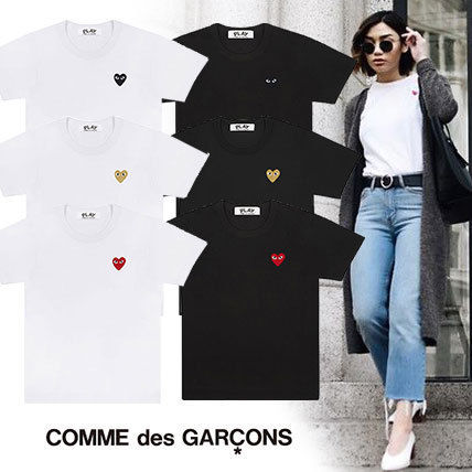 Heart Unisex Street Style U-Neck Cotton Short Sleeves
