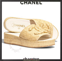 CHANEL ICON Open Toe Platform Plain Elegant Style Flat Sandals