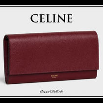 CELINE Flap Calfskin Plain Bold Long Wallets
