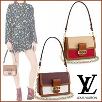 Louis Vuitton TAURILLON Blended Fabrics 2WAY Bi-color Plain Leather Elegant Style