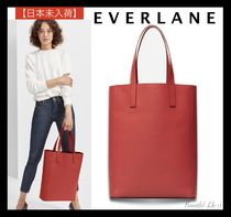Everlane Casual Style A4 Plain Leather Handbags