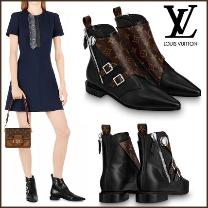Louis Vuitton Ankle & Booties Monogram Rubber Sole Blended Fabrics Bi-color Leather 2