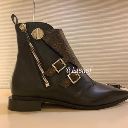 Louis Vuitton Ankle & Booties Monogram Rubber Sole Blended Fabrics Bi-color Leather