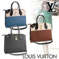 Louis Vuitton CITY STEAMER Calfskin Blended Fabrics 2WAY Plain Elegant Style Totes
