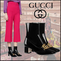 GUCCI Flower Patterns Leather Ankle & Booties Boots