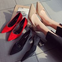 Faux Fur Pin Heels Office Style Pointed Toe Pumps & Mules