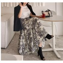 Casual Style Other Animal Patterns Long Maxi Skirts
