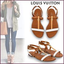 Louis Vuitton MONOGRAM Open Toe Blended Fabrics Bi-color Plain Leather