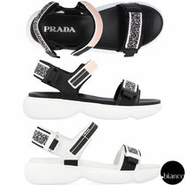 PRADA Open Toe Rubber Sole Blended Fabrics Plain Leather