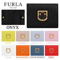 FURLA Plain Leather Folding Wallets