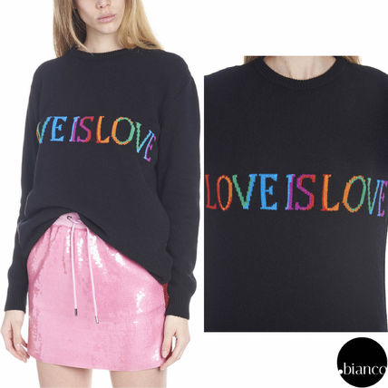 Crew Neck Casual Style Unisex Wool Bi-color Long Sleeves