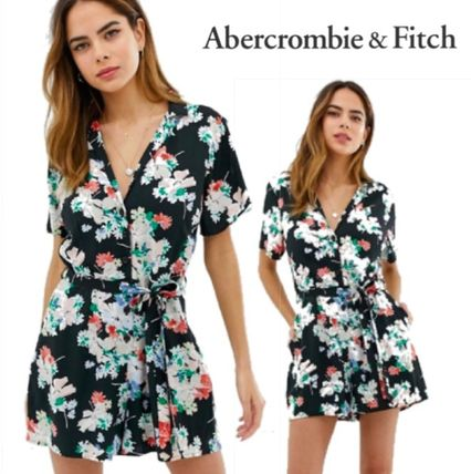 Abercrombie Fitch 2019 Ss Wrap Dresses Short Flower Patterns Casual Style V Neck