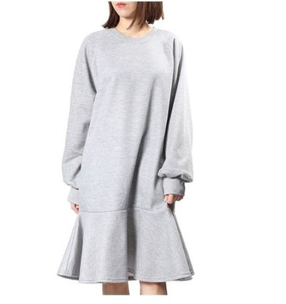 Crew Neck Casual Style Flared Street Style Plain Long