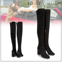 Louis Vuitton Rubber Sole Suede Plain Over-the-Knee Boots