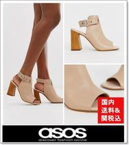 ASOS Open Toe Leather Block Heels Elegant Style