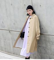 SPAO Stand Collar Coats Casual Style Long Oversized Trench Coats
