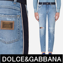 Dolce & Gabbana Stripes Unisex Denim Street Style Skinny Fit Jeans & Denim