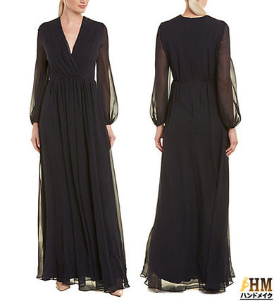 Crew Neck Maxi Silk Puffed Sleeves Plain Long Elegant Style