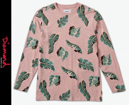 Crew Neck Tropical Patterns Street Style Long Sleeves