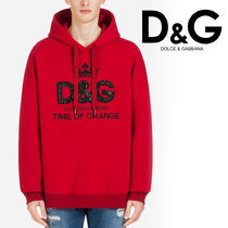 Dolce & Gabbana Unisex Street Style Long Sleeves Cotton Oversized Hoodies