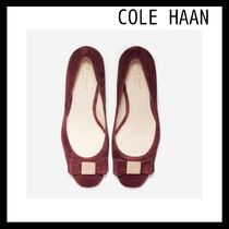 Cole Haan Round Toe Suede Plain Chunky Heels Pumps & Mules