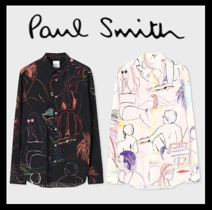 Paul Smith Shirts Tropical Patterns Long Sleeves Cotton Shirts