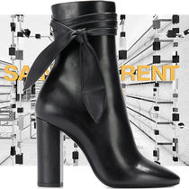 Saint Laurent Plain Toe Casual Style Plain Leather Chunky Heels