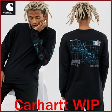Carhartt Long Sleeve Crew Neck Street Style Long Sleeves Plain Cotton Oversized