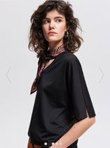 RESERVED Flower Patterns Casual Style Plain Short Sleeves