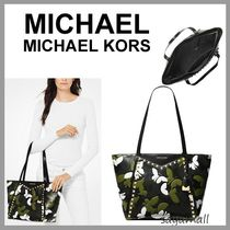 Michael Kors WHITNEY Camouflage A4 Plain Leather Elegant Style Totes