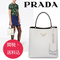 PRADA DOUBLE Casual Style 2WAY Leather Totes