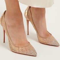 Christian Louboutin Plain Leather Pin Heels Handmade Party Style With Jewels