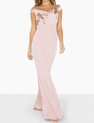 Maxi V-Neck Plain Long Dresses