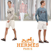 HERMES Crew Neck Pullovers Long Sleeves Cotton Knits & Sweaters