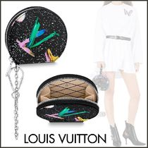 Louis Vuitton Unisex Blended Fabrics Bi-color Chain Leather Coin Purses