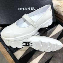 CHANEL Plain Leather Ballet Shoes