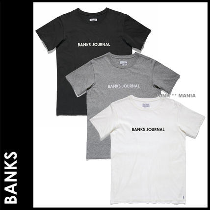 BANKS Crew Neck Crew Neck Street Style Cotton Short Sleeves