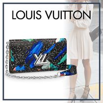 Louis Vuitton Blended Fabrics Bi-color Chain Leather Long Wallets