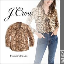 J Crew Leopard Patterns Long Sleeves Elegant Style Shirts & Blouses