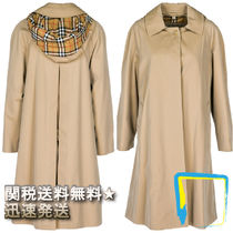 Burberry Other Check Patterns Casual Style Plain Long Trench Coats