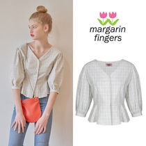 Margarin Fingers Gingham Casual Style Peplum Puffed Sleeves Cotton Medium