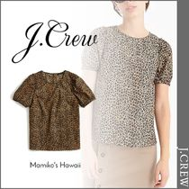 J Crew Leopard Patterns Casual Style Rib Cotton Short Sleeves