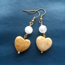 <Angel Spirit> Clacked Crystal Quartz Fossil Coral Earrings