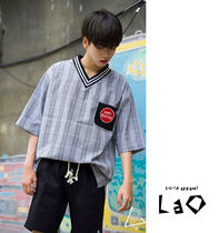 Other Check Patterns Unisex Street Style V-Neck