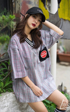Other Plaid Patterns Unisex Street Style V-Neck Cotton